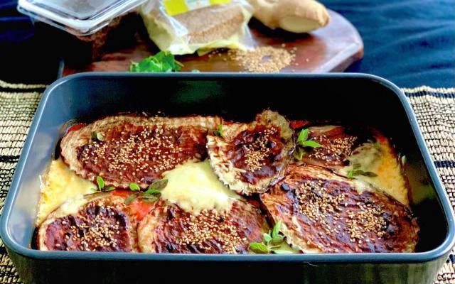 Aubergine grillée au miso à la mozzarella